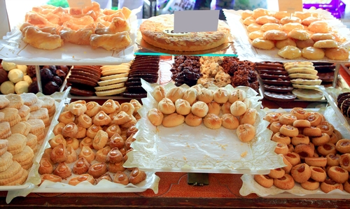 cake pastries in bakery typical from Spain